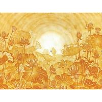 Tranh decal dán tường 3D hoa sen vàng trang trí bàn thờ