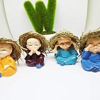 Bộ 4 tượng chú tiểu tứ đội nón rơm