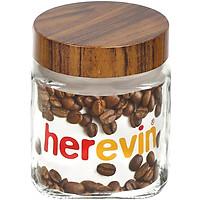 Hũ Thuỷ Tinh Herevin Vuông Nắp Woody 1L - 231010