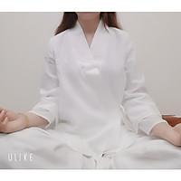 Trang phục đi lễ chùa, tập thiền & yoga nữ cổ chéo Thiền Chay 2 lớp màu trắng ngọc