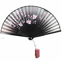 Quạt cổ trang dây tuyến hoa đào nền đen quạt trúc xếp cầm tay phong cách Trung Quốc