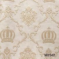 Combo 5 cuộn giấy dán tường phòng khách hoạ tiết vương miện cổ điển Châu Âu sang trọng