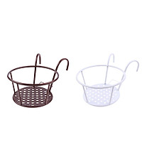 2xIron Art Hanging Baskets Flower Pot Holder Over The Rail Metal Fence Planters