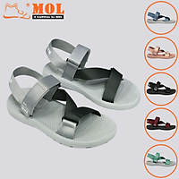 Giày sandal unisex nam nữ quai chéo vải dù đế mõng Slim có quai hậu cố định hiệu MOL mang đi học du lịch MS1166G
