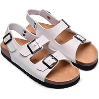 Sandal 2 khóa trắng đế trấu 2124NAM