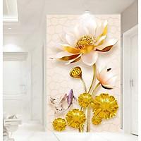 Tranh dán tường hoa sen vàng