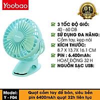 Quạt Kẹp Tích Điện Yoobao F04 Mini Pin Siêu Khủng 6400mah Thoải Mái 2 Ngày Với 4 Tốc Độ - Hàng Chính Hãng
