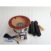 combo 1kg than không khói kèm 1 bếp than lẫu nướng gia đình có quạt sạc 28cm