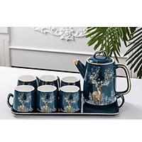 Bộ ấm chén kèm khay  sứ pha trà cà phê màu xanh cổ vịt họa tiết hươu vàng