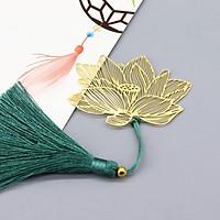 Thanh đánh dấu sách bookmark hình bông sen vàng có hộp đựng tặng kèm vòng tay may mắn