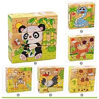 Đồ chơi ghép hình 9 khối gỗ xếp được 6 tranh hình Con vật- Phương tiện GH9K