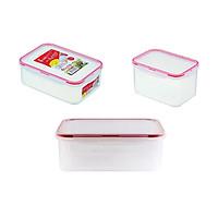 Combo 3 hộp nhựa bảo quản thực phẩm Inomata hình chữ nhật - Có khóa nắp 4 chiều