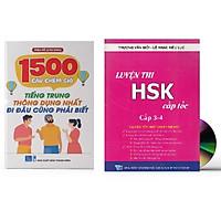 Combo 2 sách: 1500 Câu chém gió tiếng Trung thông dụng nhất + Luyện thi HSK cấp tốc - Cấp 3+4  (kèm CD)