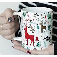 Cốc sứ uống trà cà phê in hình tuần lộc - cốc noel