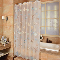 Bathroom Starfish Style Shower Curtain Liner Waterproof Mildew Proof PEVA Translucent for Room