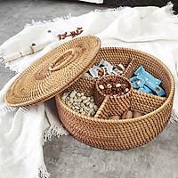 Khay đựng mứt và bánh kẹo hình tròn có nắp đậy ( Hàng mây tre đan) - Hàng thủ công mỹ nghệ đạt tiêu chuẩn xuất khẩu- mã hàng Be148