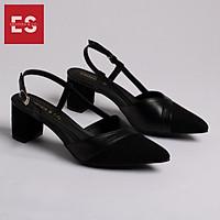 Giày Nữ, Giày Cao Gót Slingback Erosska Mũi Nhọn Phối Dây Gót Vuông Cao 5cm EK003 Màu Đen