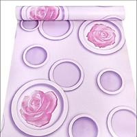 Giấy dán tường hoa hồng và vòng tròn 3D khổ rộng 0.45m có keo sẵn
