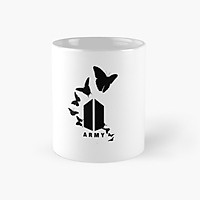 Cốc in hình Logo BTS ARMY và hình bướm