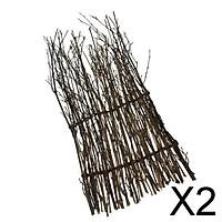 2xGarden Fence Screen Divider Border Bamboo Slat Reed Brushwood Roll 30x11cm