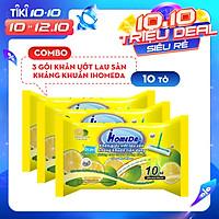 Combo 3 gói Khăn ướt lau sàn kháng khuẩn hương Cam iHomeda (10 miếng)