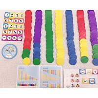 Đồ chơi gỗ sáng tạo - Sáng tạo với những miếng gỗ tròn nhiều màu sắc - kết hợp học giờ, học số