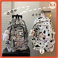 Ba lô bò vằn KA Close chất vải Canvas dầy mềm, 2 kiểu loang vằn, loang bò, đi học, đi chơi siêu hot