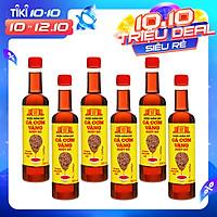 Thùng 6 chai nước mắm nhỉ cá cơm vàng ruột đỏ Làng Chài Xưa 525ml/chai cá ngon vùng nước trồi 300 năm truyền thống