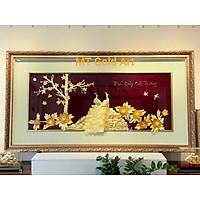 Tranh Đôi Chim công và Hoa mẫu đơn (50x150cm) MT Gold Art- Hàng chính hãng, trang trí nhà cửa, phòng làm việc, quà tặng sếp, đối tác, khách hàng, tân gia, khai trương