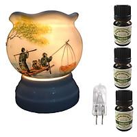 Đèn xông tinh dầu size L AH18 và 3 tinh dầu bạc hà Eco 10ml và 1 bóng đèn