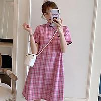 Women Fashion Print Short-sleeved Cheongsam Dress Large Size Maternity Dress For Pregnant