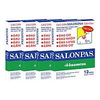 Combo 4 Hộp Cao Dán Salonpas Giảm Đau - Hộp 12 Miếng (6.5 x 4.2 cm)