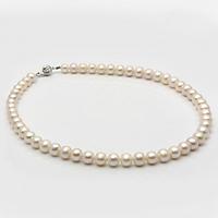 Chuỗi cổ ngọc đính khóa bạc quý kim gồm 52 viên ngọc Freshwater màu trắng 7.6-8.5mm Hoàng Gia Pearl  C1148P0F31W048052S001