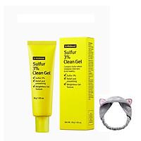 Gel hỗ trợ giảm mụn và ngăn ngừa mụn By Wishtrend Sulfur 3% Clean Gel 30g + Tặng Kèm 1 Băng Đô Tai Mèo (Màu Ngẫu Nhiên)