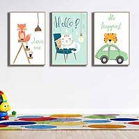 Bộ 3 tranh canvas trang trí phòng trẻ em Cáo, Mèo và Hổ con - TTE007