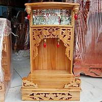 Bàn thờ thần tài ông địa gỗ xoan ngang 42 lọng điện tử