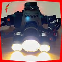 Đèn Pin Đội Đầu 3 Bóng Led, 04 Chức Năng, Pin Sạc 9800Mah, 18650 4.2V - Hàng Chính Hãng