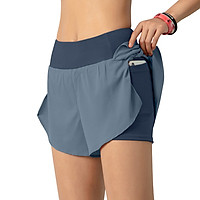 Women Running Shorts 2-in-1 with Pocket Wide Waistband Coverage Layer Compression Liner Lounging Sport Yoga Leggings