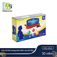 Viên uống đa lượng cho phụ nữ có thai Vitafact Preagnacy - Bổ sung các Vitamin, giảm ốm nghén, dự phòng dị tật cho thai nhi - Nhà máy liên doanh với Medinej - USA và đạt chuẩn GMP - WHO