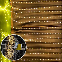 Đèn rèm led nháy hạt ngọc 3x2m, dây đèn trang trí ngoài trời, trong nhà