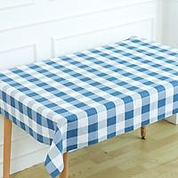 Khăn trải bàn vải bố - Caro blue trắng to - mẫu N03
