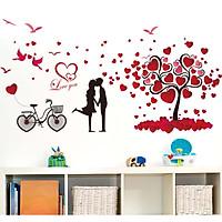 Decal dán tường Trái tim tình nhân dán phòng ngủ lãng mạn AmyShop DKN014 (72 x 147 cm)