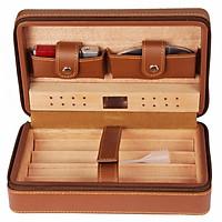 Hộp Đựng Xì Gà 4 Điếu Kèm Bật Lửa Và Dao Cắt XJ-T104 (hộp đựng màu nâu - bật lửa mẫu ngẫu nhiên)