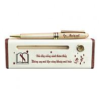Hộp bút gỗ cao cấp chủ đề Thầy Cô - Có bút