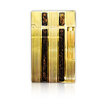 Hộp Quẹt Bật Lửa Gas Đá D95V Họa Tiết Hoa Văn Kẻ Sọc Cách Điệu Sơn Mài Kim Tuyến Màu Vàng