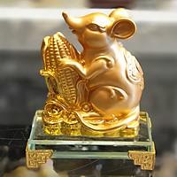 Tượng Chuột Vàng Ôm Bắp Vàng Trên Đế Thuỷ Tinh TM030 - Tài Lộc Dư Dả - Mẫu Chuột Hot năm Canh Tý 2020