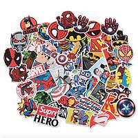 Set 50 sticker Siêu Anh Hùng dán Điện thoại, Laptop, Vali, Mũ bảo hiểm, Xe máy
