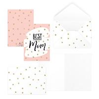 Thiệp tặng mẹ, mother's day, ngày phụ nữ, ngày Vu Lan BEST MOM 12,5x17,6 SDstationery PINK pattern màu hồng chấm bi vàng