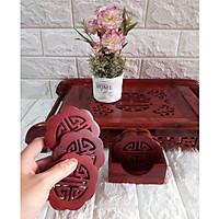 Bộ 6 miếng đế lót ly hình hoa mai gỗ hương lọng chữ thọ - LLHM02