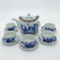 Bộ ấm trà / Bộ bình trà trắng xanh Phúc Đức
